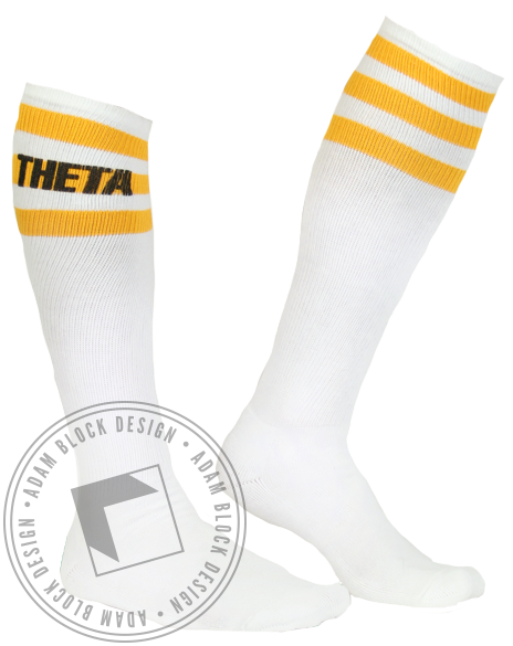 Kappa Alpha Theta Yellow Striped Socks-Adam Block Design