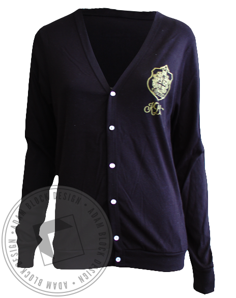 Kappa Beta Gamma Crest Long Sleeve Cardigan-gallery-Adam Block Design