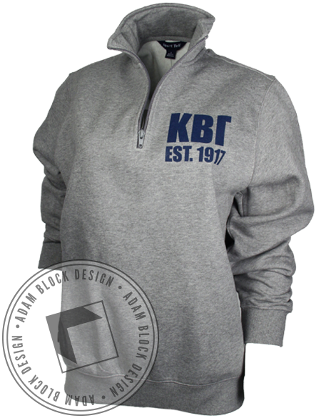 Kappa Beta Gamma Crest Long Sleeve Half-Zips-Adam Block Design