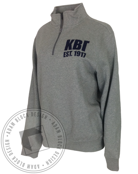 Kappa Beta Gamma Crest Long Sleeve HalfZip-Adam Block Design