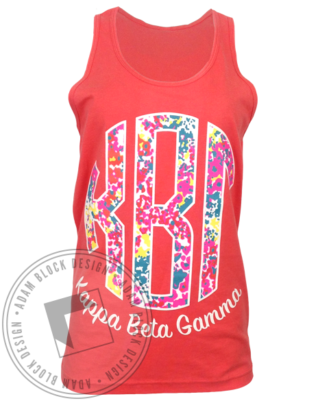 Kappa Beta Gamma Floral Monogram Tank Top-Adam Block Design