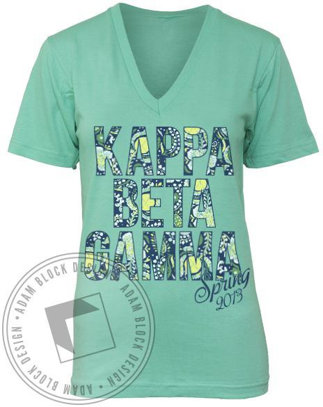 Kappa Beta Gamma Spring V-neck Tee Shirt-Adam Block Design