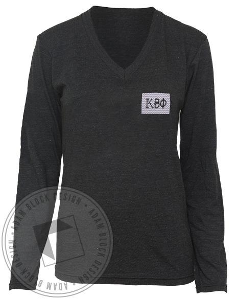 Kappa Beta Phi Chevron Long Sleeve V-Neck-Adam Block Design