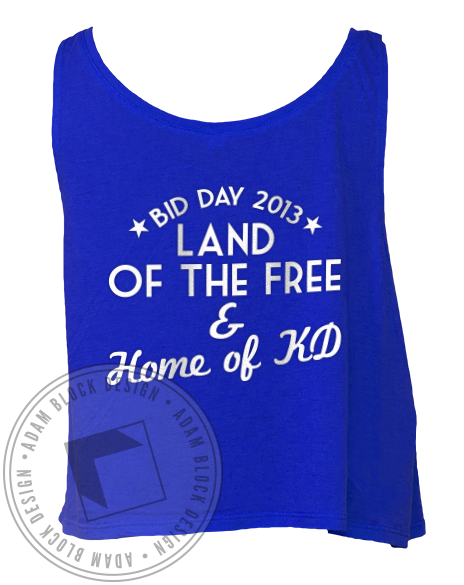 Kappa Delta America Bid Day Crop Top-Adam Block Design