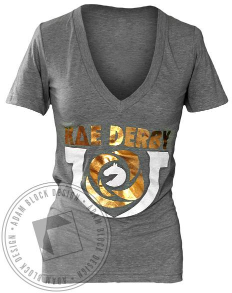 Kappa Delta Epsilon Derby Foil V-Neck-gallery-Adam Block Design