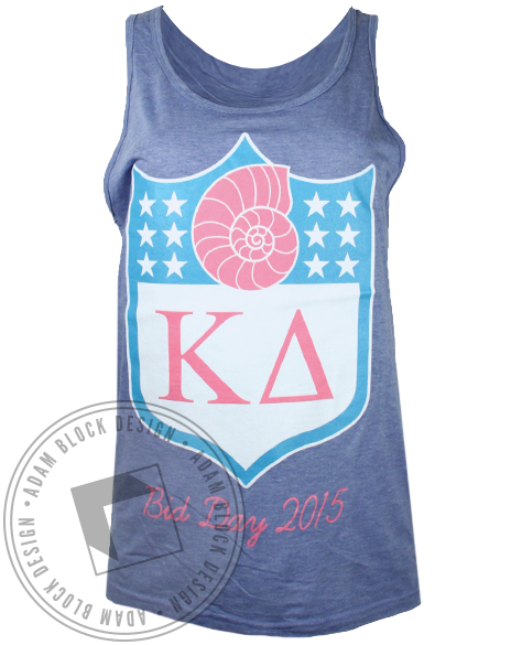 Kappa Delta Football Bid Day Tank Top-Adam Block Design