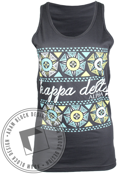 Kappa Delta Geometric Flower Tank-Adam Block Design