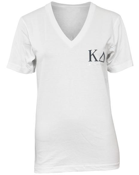 Kappa Delta Recruitment White V-Neck-Adam Block Design
