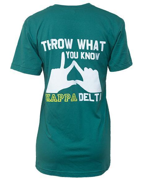 Kappa Delta Throw What You Know T-Shirt-Adam Block Design
