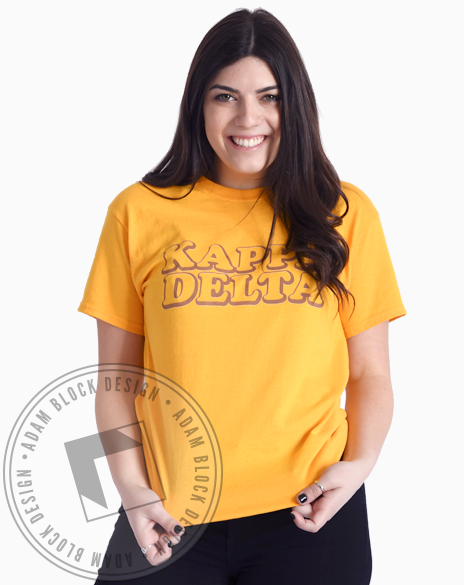 Kappa Delta Yellow Retro T-shirt-Adam Block Design