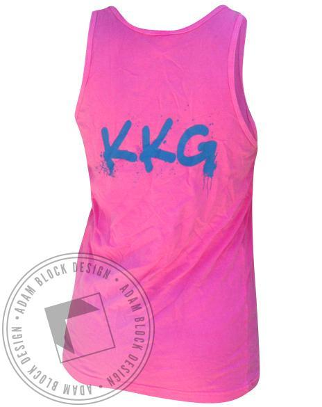 Kappa Kappa Gamma Bleed Blue Tank - Pink-Adam Block Design