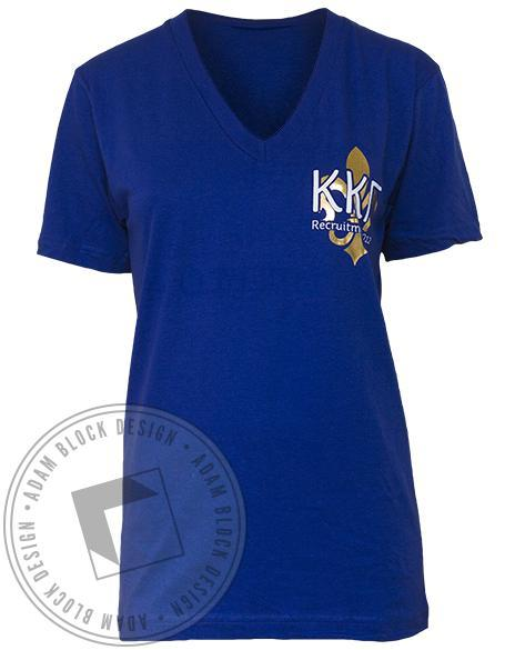 Kappa Kappa Gamma Blue Key V-Neck-Adam Block Design