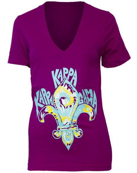 Kappa Kappa Gamma Fleur Purple V-Neck-Adam Block Design