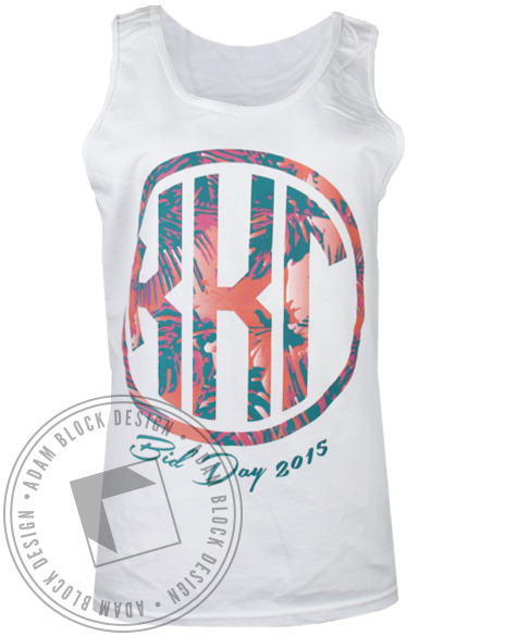 Kappa Kappa Gamma Floral Monogram Tank Top-gallery-Adam Block Design