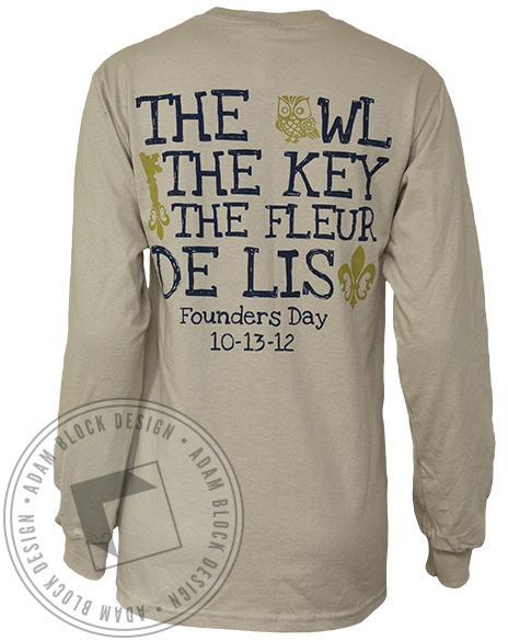Kappa Kappa Gamma Founders Long Sleeve Tee-Adam Block Design