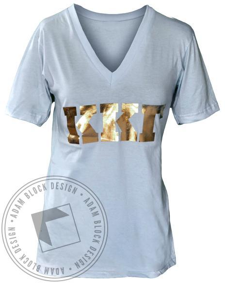 Kappa Kappa Gamma Gold Letter V-neck-gallery-Adam Block Design