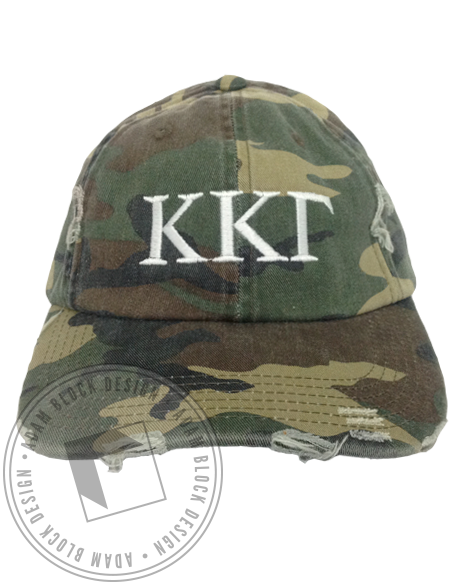 Kappa Kappa Gamma Simple Embroidered Camo Hat-Adam Block Design