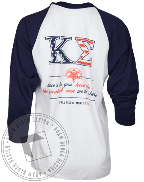 Kappa Sigma Greatest Men Recruitment Baseball Tshirt-Adam Block Design