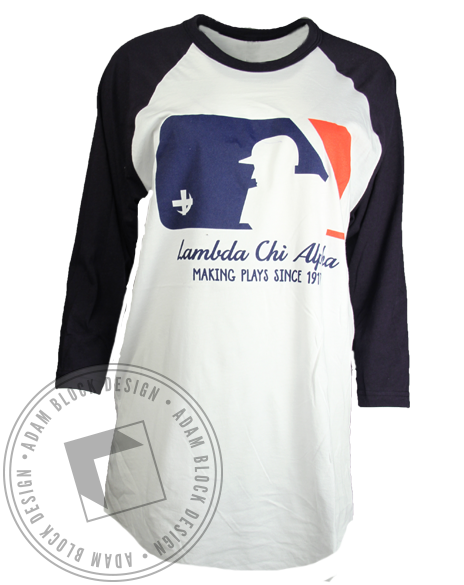 Lambda Chi Alpha Making Plays Baseball Tee-gallery-Adam Block Design