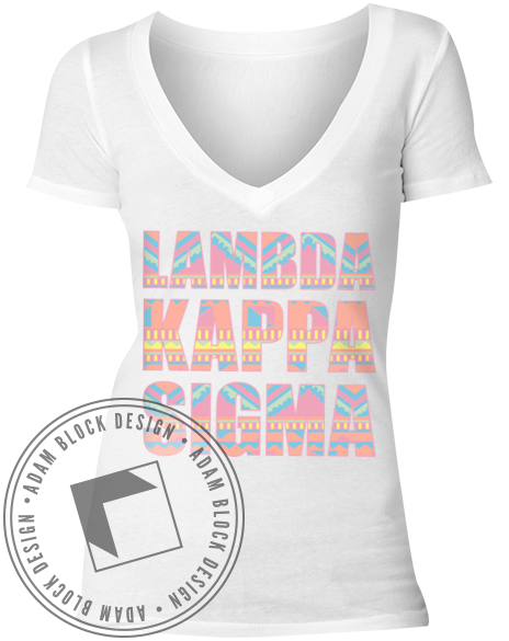 Lambda Kappa Sigma Tribal V-Neck-gallery-Adam Block Design