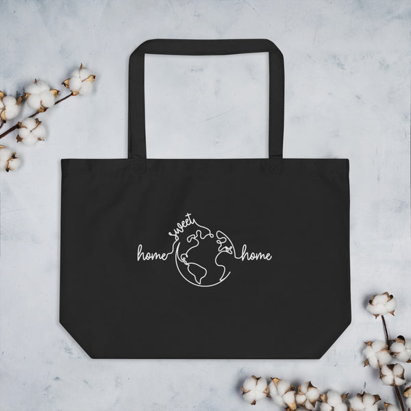 Home Sweet Home Organic Tote Bag - Color: Black, Oyster - Adam Block Design