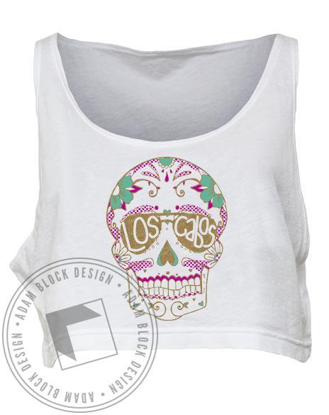 Los Cabos Skull Spring Break Crop Top-Adam Block Design