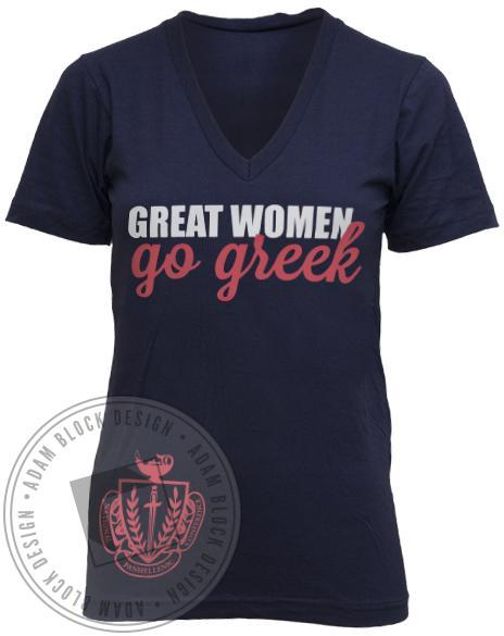 National Panhellenic Conference Go Greek V-neck-Adam Block Design