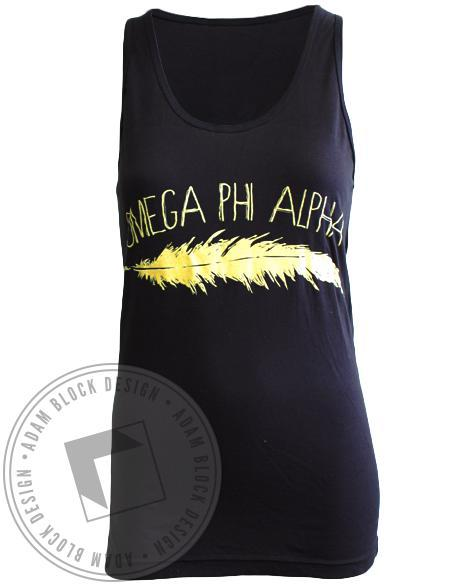Omega Phi Alpha Feather Tank-Adam Block Design