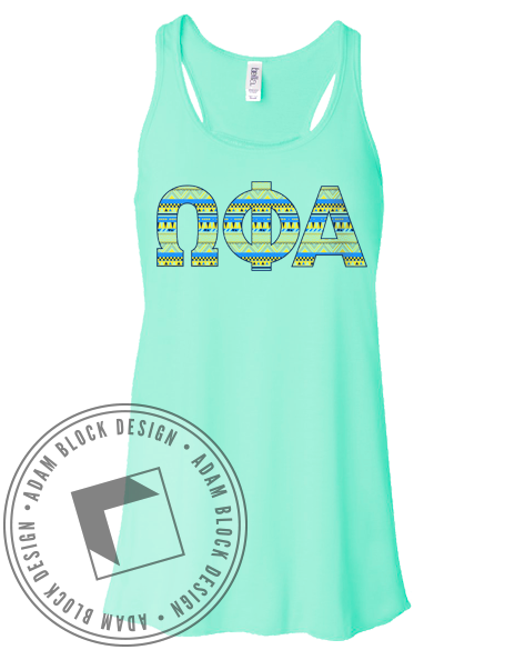 Omega Phi Alpha Geometric Tank-Adam Block Design