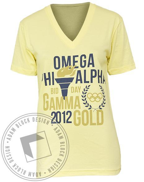 Omega Phi Alpha Gold V-Neck-Adam Block Design