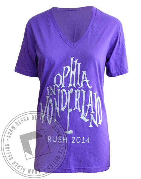 Omega Phi Alpha OPhiA in Wonderland V-Neck-Adam Block Design