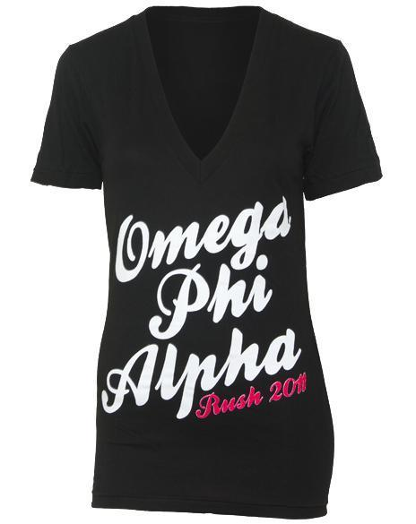 Omega Phi Alpha Rush V-Neck-Adam Block Design