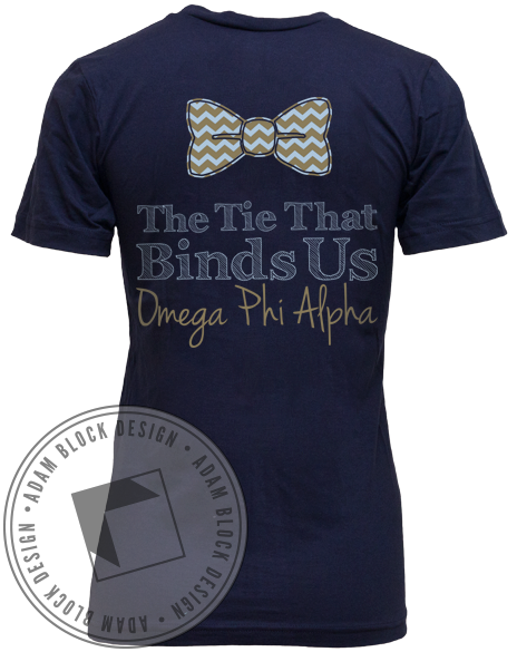 Omega Phi Alpha The Tie That Binds Us Vneck-Adam Block Design
