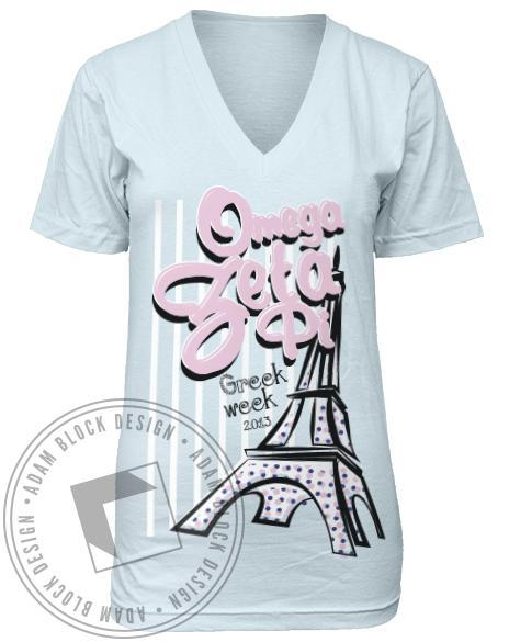 Omega Zeta Pi Eiffel Tower Greek Week V-neck-Adam Block Design