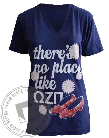 Omega Zeta Pi V-Neck-Adam Block Design
