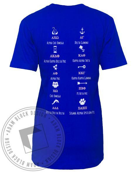Panhellenic Go Greek V-Neck-Adam Block Design