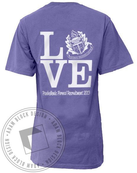 Panhellenic Love Crest Pocket T-Shirt-Adam Block Design