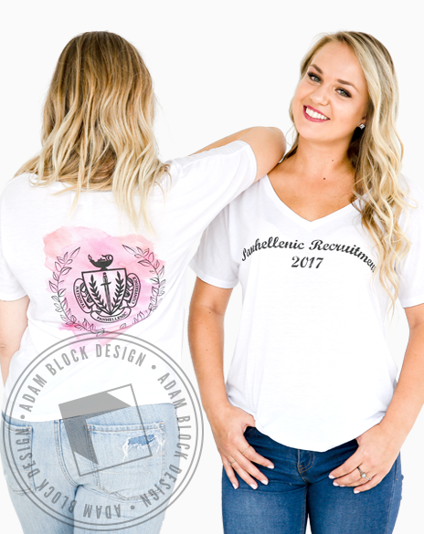 Panhellenic Watercolor Recruitment Tee-Adam Block Design