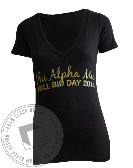Phi Alpha Mu Bid Day V-Neck-Adam Block Design
