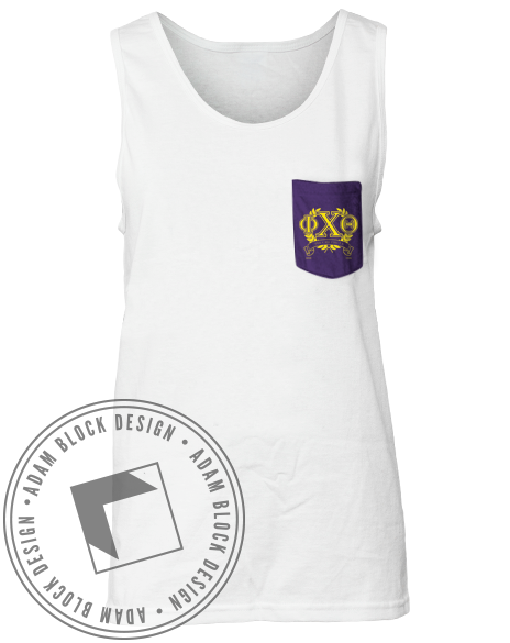 Phi Chi Theta Wreath Custom Pocket Tank-Adam Block Design