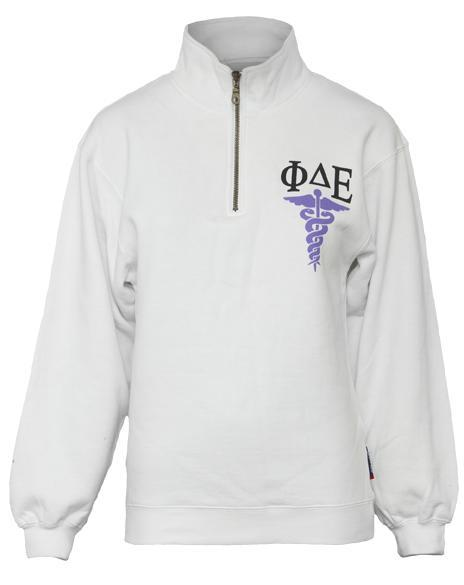 Phi Delta Epsilon Facta Non Verba Half-Zip-Adam Block Design