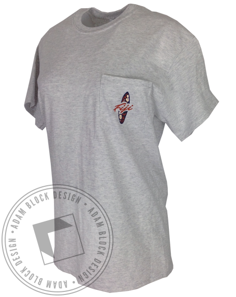 Phi Gamma Delta Fiji Surfboard Pocket Tee-Adam Block Design