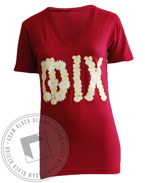 Phi Iota Chi Flower V-neck-Adam Block Design