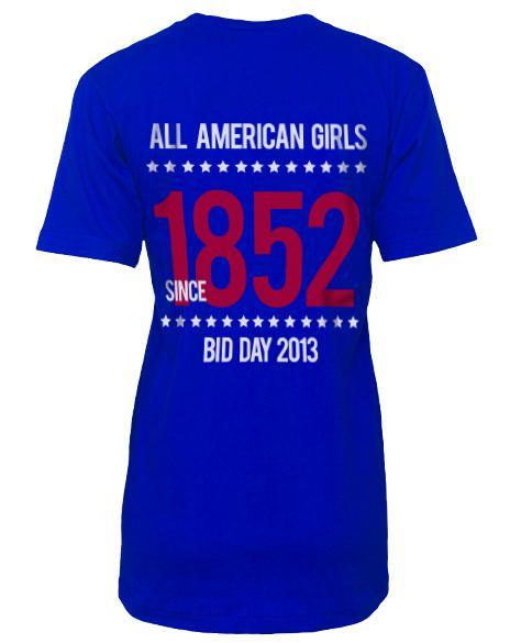 Phi Mu All American Girls V-Neck-Adam Block Design