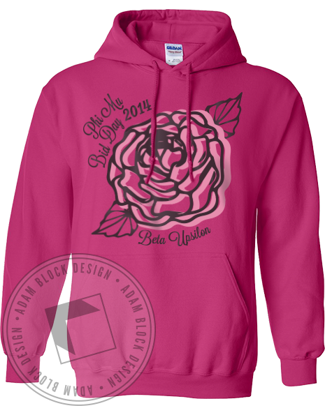 Phi Mu Bid Day Crest Hoodie-Adam Block Design