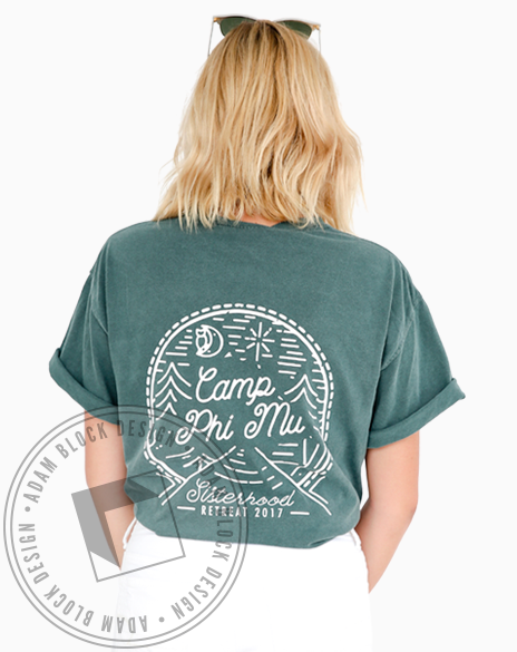 Phi Mu Camp Retreat Pocket Tee-Adam Block Design