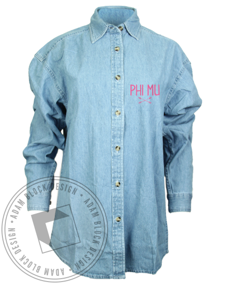 Phi Mu Chambray Longsleeve Shirt-Adam Block Design
