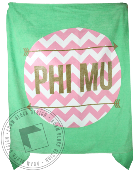 Phi Mu Chevron Towel-Adam Block Design