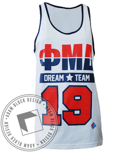 Phi Mu Delta Dream Team Ringer Tank-Adam Block Design