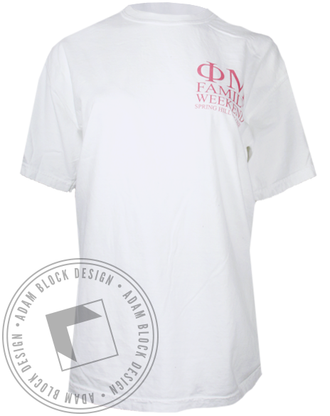 Phi Mu Family Weekend Tshirt-Adam Block Design